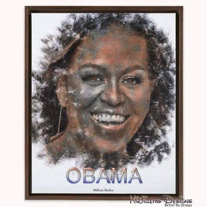 Michelle Obama Ink Smudge Style Art Print - Framed Canvas Art Print / 16x20 inch