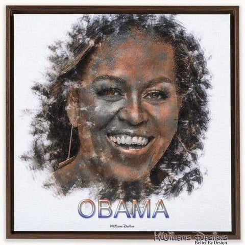 Image of Michelle Obama Ink Smudge Style Art Print - Framed Canvas Art Print / 24x24 inch