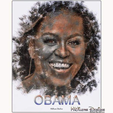 Image of Michelle Obama Ink Smudge Style Art Print - Metal Art Print / 16x20 inch