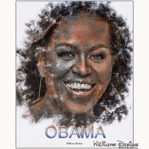 Michelle Obama Ink Smudge Style Art Print - Metal Art Print / 16x20 inch