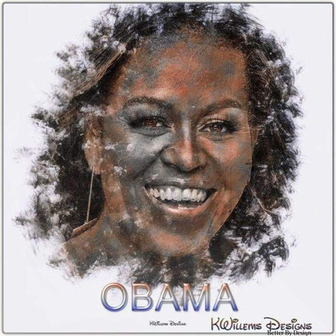 Image of Michelle Obama Ink Smudge Style Art Print - Metal Art Print / 24x24 inch