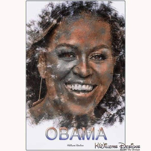 Michelle Obama Ink Smudge Style Art Print - Metal Art Print / 24x36 inch