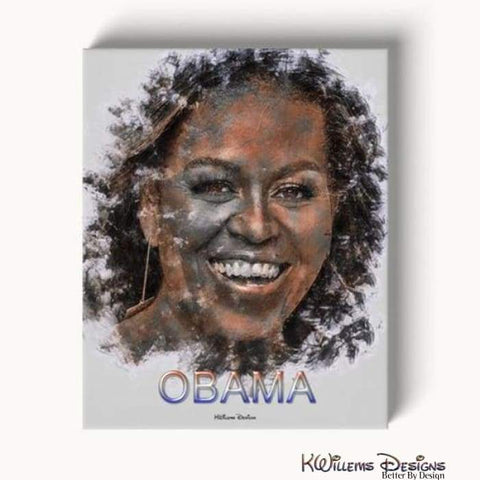 Image of Michelle Obama Ink Smudge Style Art Print - Wrapped Canvas Art Print / 16x20 inch