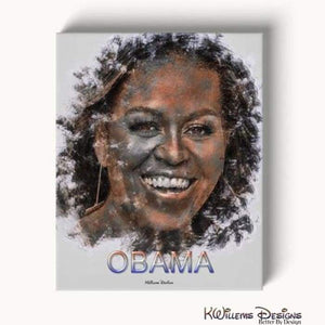 Michelle Obama Ink Smudge Style Art Print - Wrapped Canvas Art Print / 16x20 inch