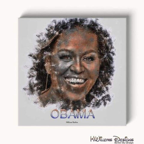 Image of Michelle Obama Ink Smudge Style Art Print - Wrapped Canvas Art Print / 24x24 inch