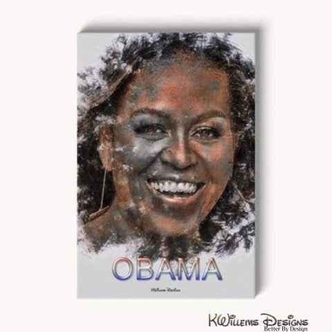 Image of Michelle Obama Ink Smudge Style Art Print - Wrapped Canvas Art Print / 24x36 inch