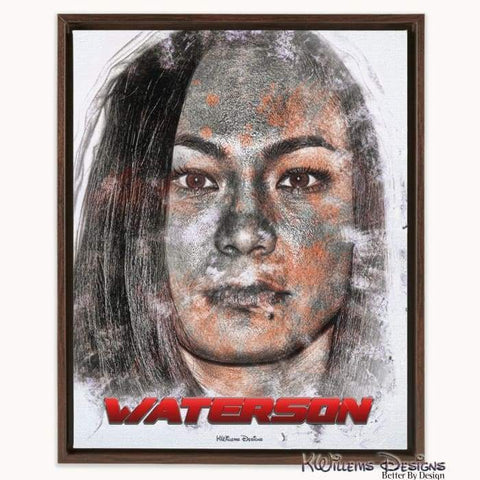 Image of Michelle Waterson Ink Smudge Style Art Print - Framed Canvas Art Print / 16x20 inch