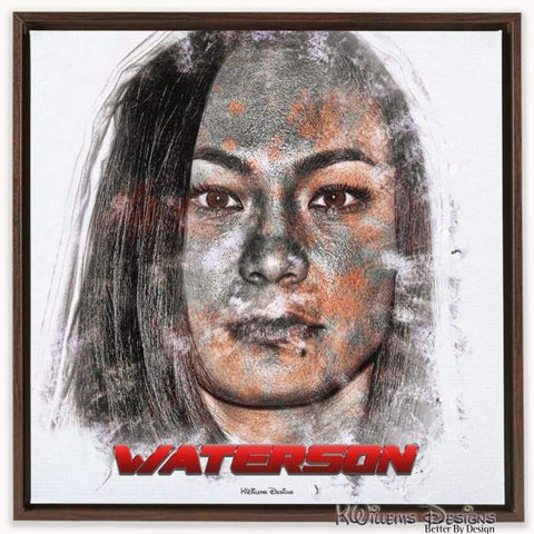 Image of Michelle Waterson Ink Smudge Style Art Print - Framed Canvas Art Print / 24x24 inch