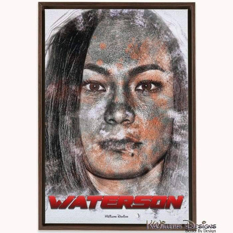 Image of Michelle Waterson Ink Smudge Style Art Print - Framed Canvas Art Print / 24x36 inch
