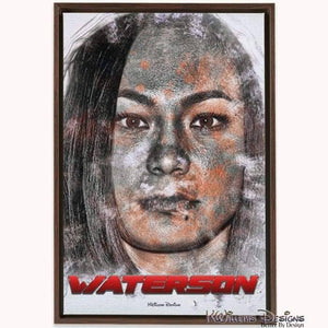 Michelle Waterson Ink Smudge Style Art Print - Framed Canvas Art Print / 24x36 inch