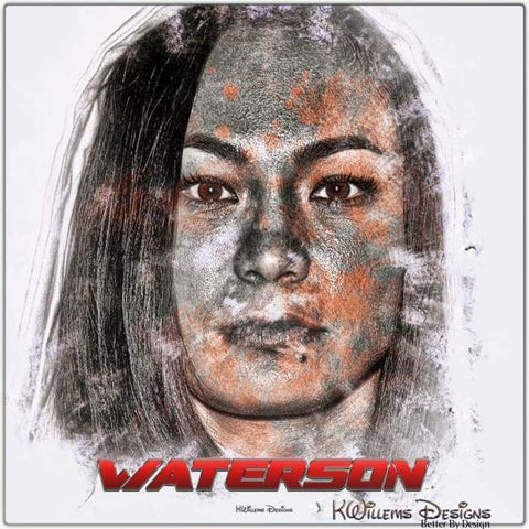 Image of Michelle Waterson Ink Smudge Style Art Print - Metal Art Print / 24x24 inch