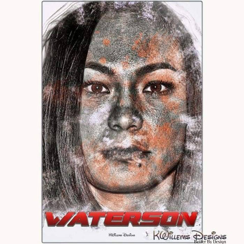 Image of Michelle Waterson Ink Smudge Style Art Print - Metal Art Print / 24x36 inch