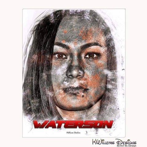Image of Michelle Waterson Ink Smudge Style Art Print - Wrapped Canvas Art Print / 16x20 inch