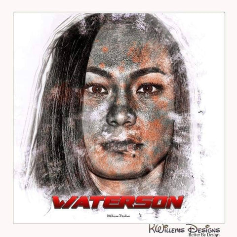 Michelle Waterson Ink Smudge Style Art Print - Wrapped Canvas Art Print / 24x24 inch