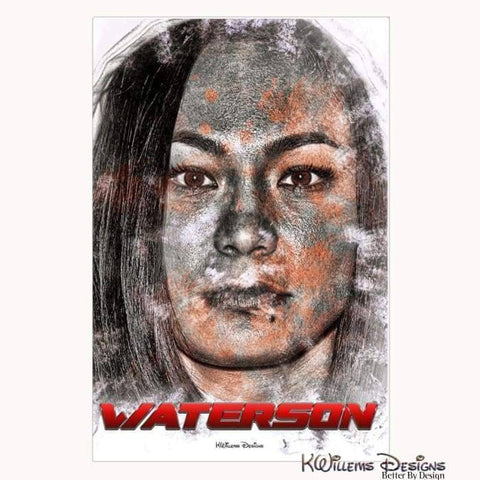 Image of Michelle Waterson Ink Smudge Style Art Print - Wrapped Canvas Art Print / 24x36 inch