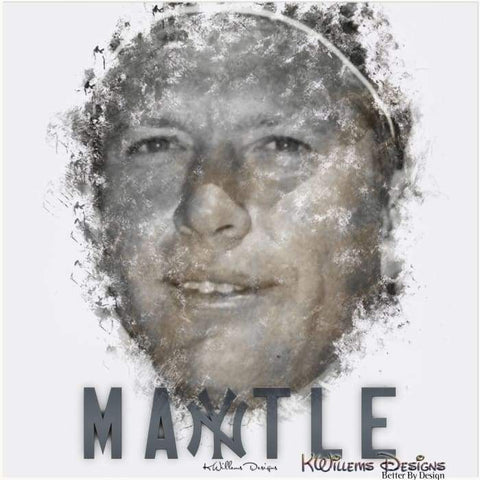 Mickey Mantle Ink Smudge Style Art Print - Acrylic Art Print / 24x24 inch