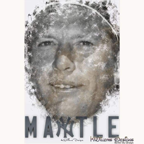Mickey Mantle Ink Smudge Style Art Print - Acrylic Art Print / 24x36 inch
