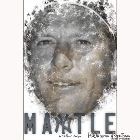 Mickey Mantle Ink Smudge Style Art Print