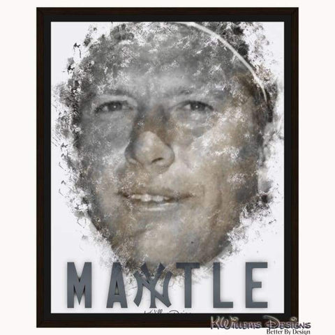Mickey Mantle Ink Smudge Style Art Print - Framed Canvas Art Print / 16x20 inch