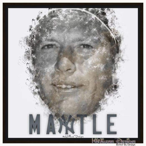 Mickey Mantle Ink Smudge Style Art Print - Framed Canvas Art Print / 24x24 inch