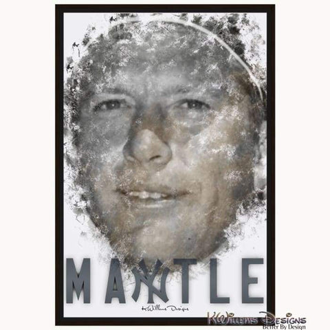 Mickey Mantle Ink Smudge Style Art Print - Framed Canvas Art Print / 24x36 inch