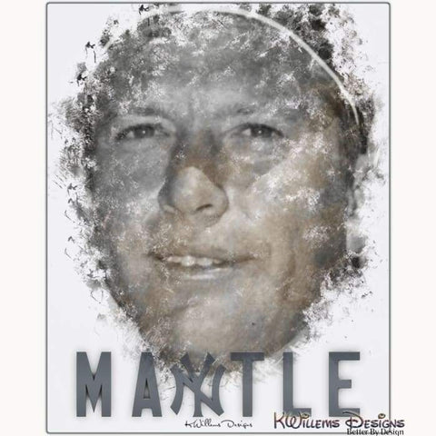 Mickey Mantle Ink Smudge Style Art Print - Metal Art Print / 16x20 inch