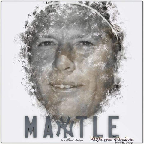 Mickey Mantle Ink Smudge Style Art Print - Metal Art Print / 24x24 inch