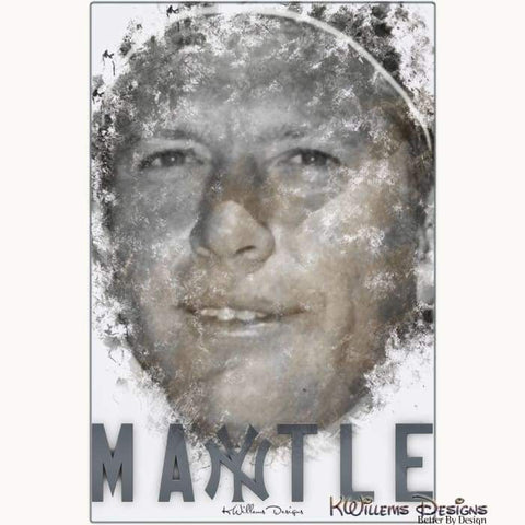 Mickey Mantle Ink Smudge Style Art Print - Metal Art Print / 24x36 inch