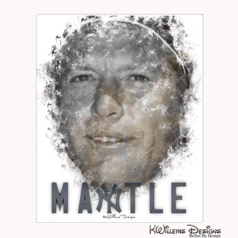 Mickey Mantle Ink Smudge Style Art Print - Wrapped Canvas Art Print / 16x20 inch
