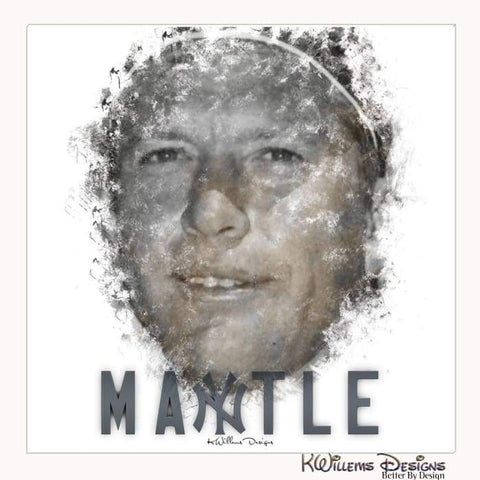 Mickey Mantle Ink Smudge Style Art Print - Wrapped Canvas Art Print / 24x24 inch