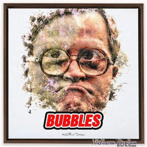 Mike Smith as Bubbles Ink Smudge Style Art Print - Framed Canvas Art Print / 24x24 inch