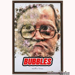 Mike Smith as Bubbles Ink Smudge Style Art Print - Framed Canvas Art Print / 24x36 inch