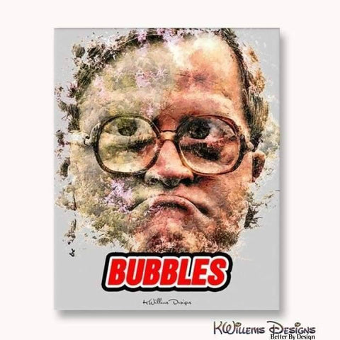 Image of Mike Smith as Bubbles Ink Smudge Style Art Print - Wrapped Canvas Art Print / 16x20 inch