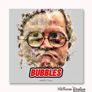 Mike Smith as Bubbles Ink Smudge Style Art Print - Wrapped Canvas Art Print / 24x24 inch