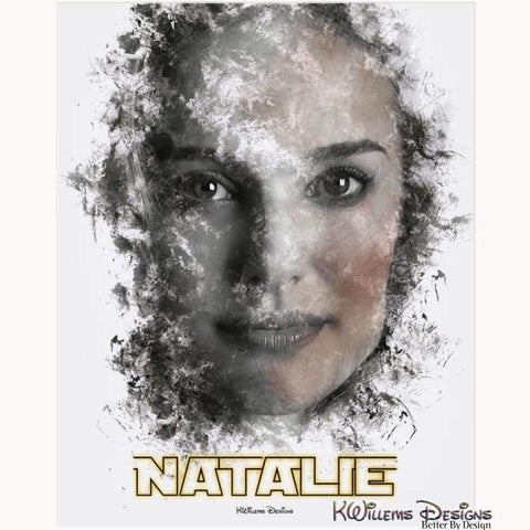 Image of Natalie Portman Ink Smudge Style Art Print - Acrylic Art Print / 16x20 inch