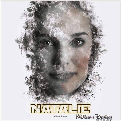 Image of Natalie Portman Ink Smudge Style Art Print - Acrylic Art Print / 24x24 inch