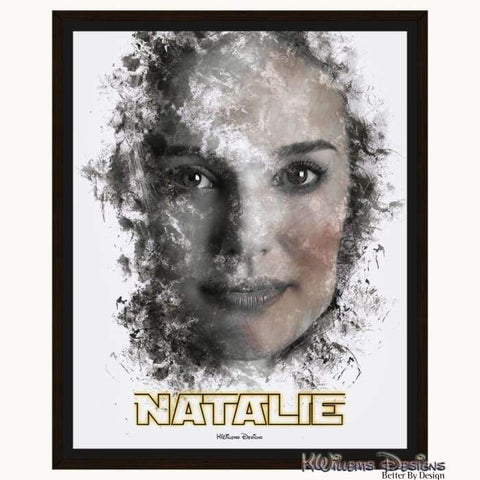 Image of Natalie Portman Ink Smudge Style Art Print - Framed Canvas Art Print / 16x20 inch