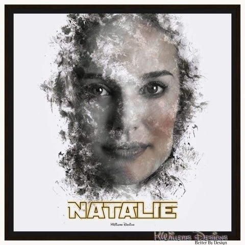 Image of Natalie Portman Ink Smudge Style Art Print - Framed Canvas Art Print / 24x24 inch