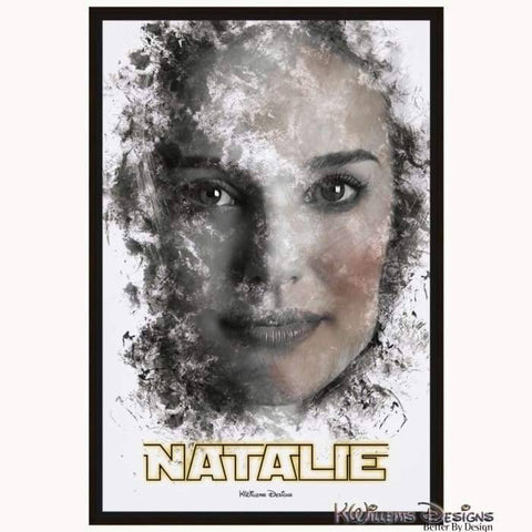 Image of Natalie Portman Ink Smudge Style Art Print - Framed Canvas Art Print / 24x36 inch