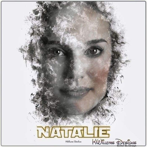 Image of Natalie Portman Ink Smudge Style Art Print - Metal Art Print / 24x24 inch