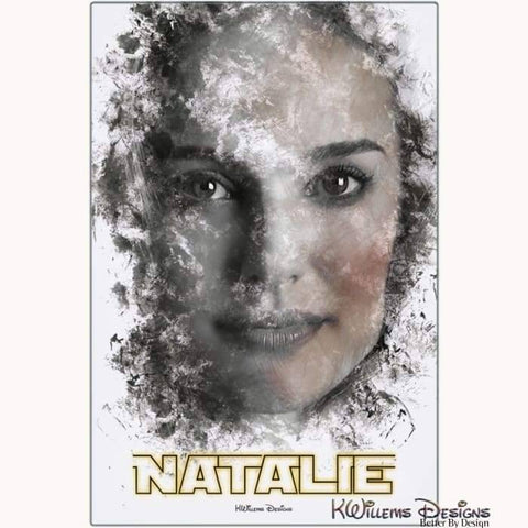 Image of Natalie Portman Ink Smudge Style Art Print - Metal Art Print / 24x36 inch