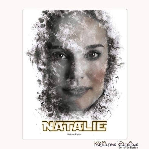 Natalie Portman Ink Smudge Style Art Print - Wrapped Canvas Art Print / 16x20 inch