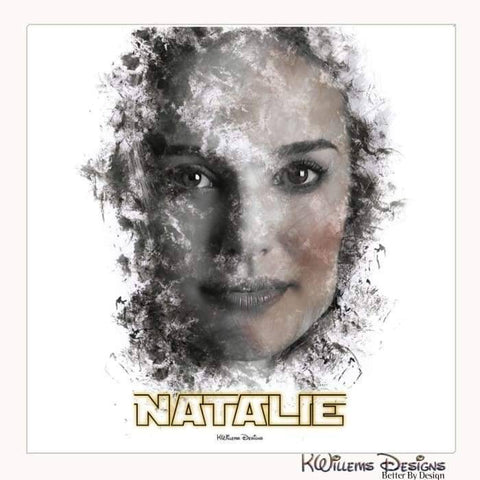 Natalie Portman Ink Smudge Style Art Print - Wrapped Canvas Art Print / 24x24 inch