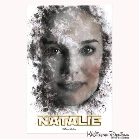 Natalie Portman Ink Smudge Style Art Print - Wrapped Canvas Art Print / 24x36 inch