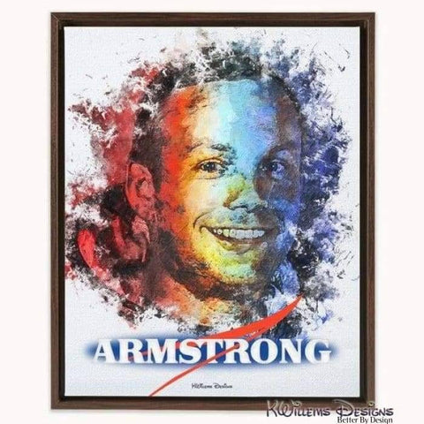 Image of Neil Armstrong Ink Smudge Style Art Print - Framed Canvas Art Print / 16x20 inch
