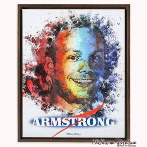 Neil Armstrong Ink Smudge Style Art Print - Framed Canvas Art Print / 16x20 inch