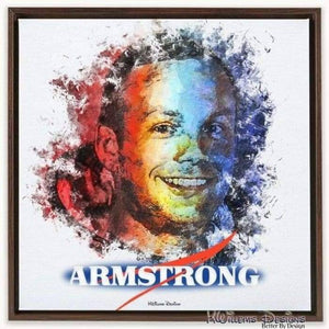 Neil Armstrong Ink Smudge Style Art Print - Framed Canvas Art Print / 24x24 inch