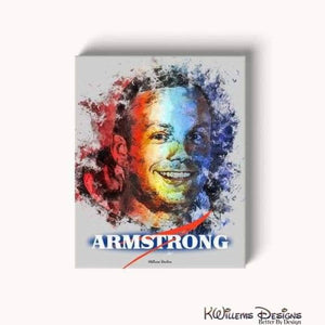 Neil Armstrong Ink Smudge Style Art Print - Wrapped Canvas Art Print / 16x20 inch