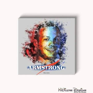 Neil Armstrong Ink Smudge Style Art Print - Wrapped Canvas Art Print / 24x24 inch