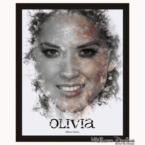 Image of Olivia Munn Ink Smudge Style Art Print - Framed Canvas Art Print / 16x20 inch